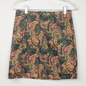 Free People | Paisley Mini Skirt Vintage Size 8